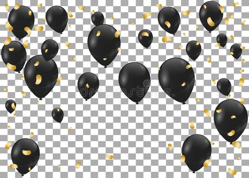 Złociści i czarni eleganccy wektorów balony Czerń balony ilustracji