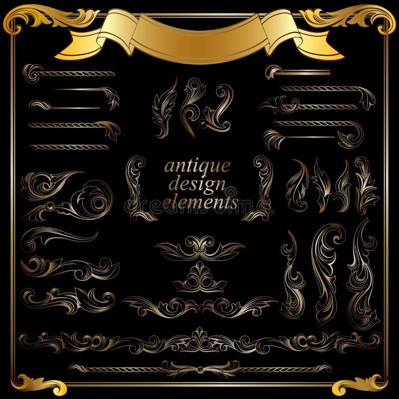 Złociści kaligraficzni projektów elementy, dekoracja royalty ilustracja