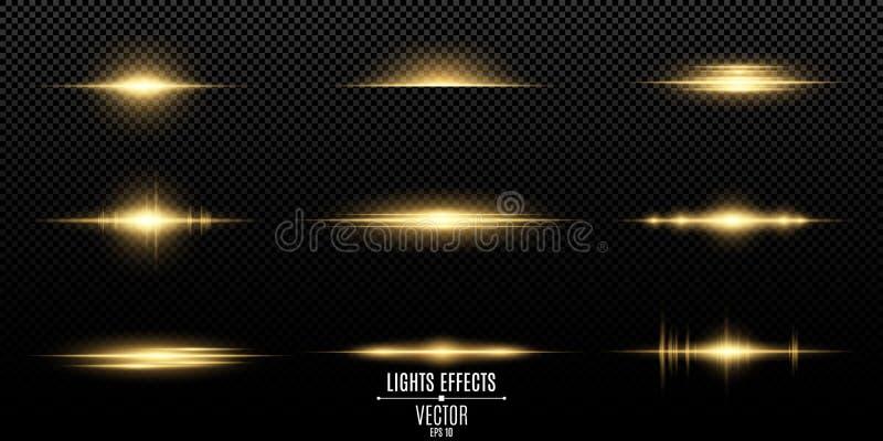 Złociści lekcy skutki na przejrzystym tle Jaskrawi świecenia złoty kolor i błyski Światło jaskrawy promienie Lekka wibracja f royalty ilustracja