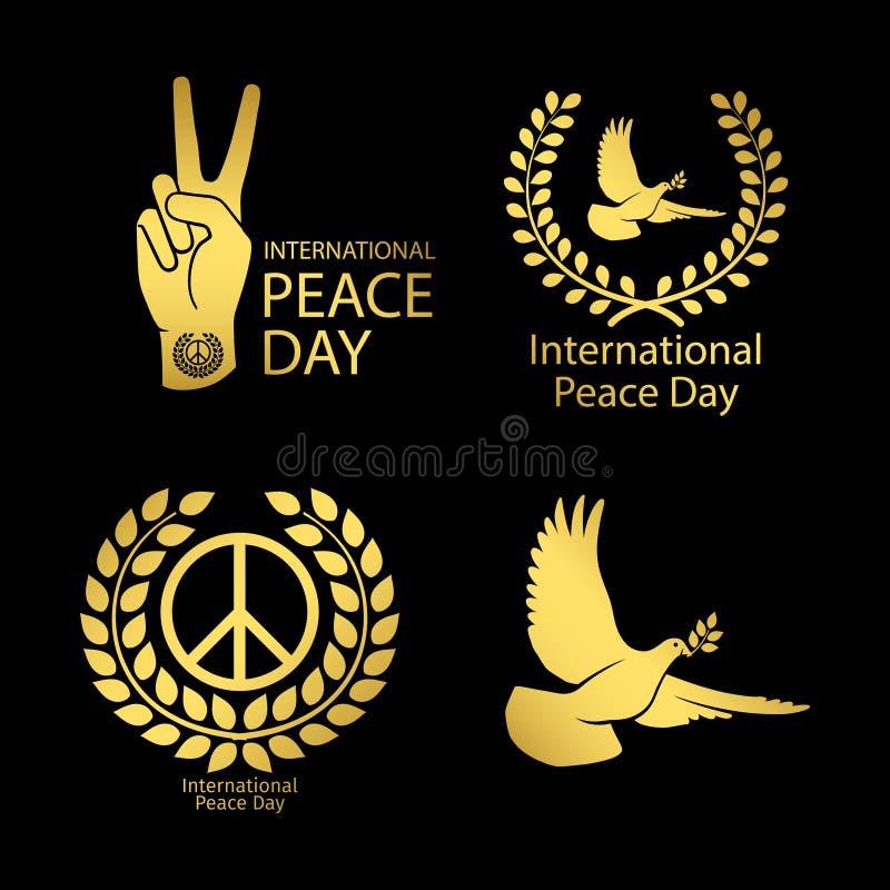 Złociści pokoju dnia logo ustawiający ilustracji
