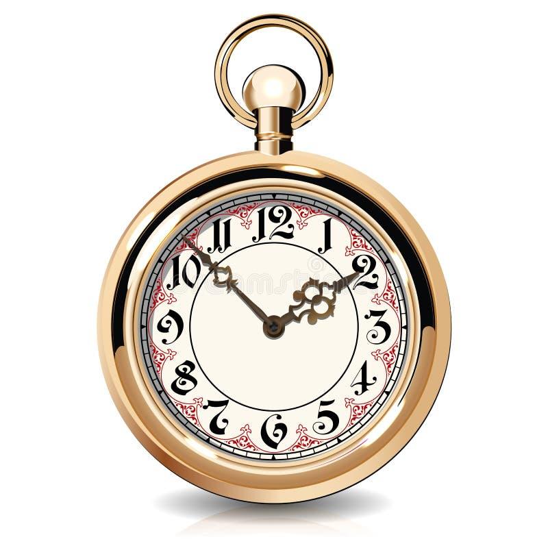 Złociści roczników zegarki ilustracja wektor
