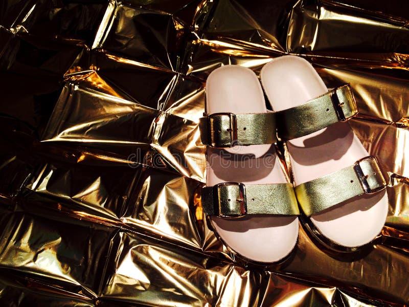 Download Złociści sandały zdjęcie stock. Obraz złożonej z stopa - 53780400
