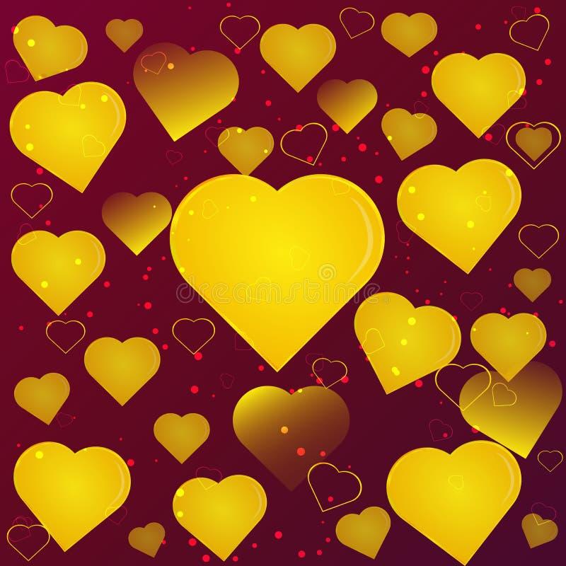 Złociści serca na wałkoniącego się tła abstrakci ilustracja wektor
