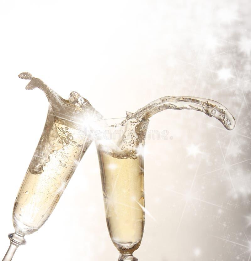 złociści szampańscy szkła obraz royalty free