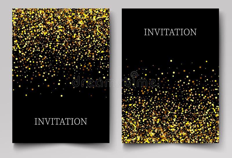 Złociści sztandary, kartka z pozdrowieniami lub ulotka projekt, Złota pyłu wektoru ilustracja Szczęśliwi nowego roku i bożych nar royalty ilustracja