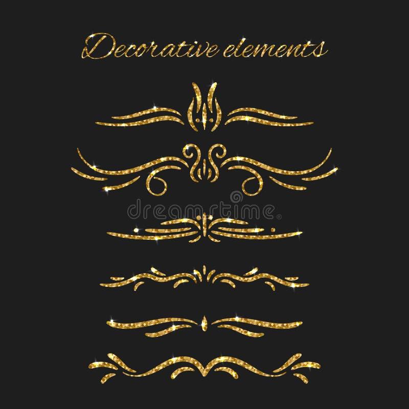 Złociści tekstów dividers ustawiający Ornamentacyjni Dekoracyjni elementy royalty ilustracja