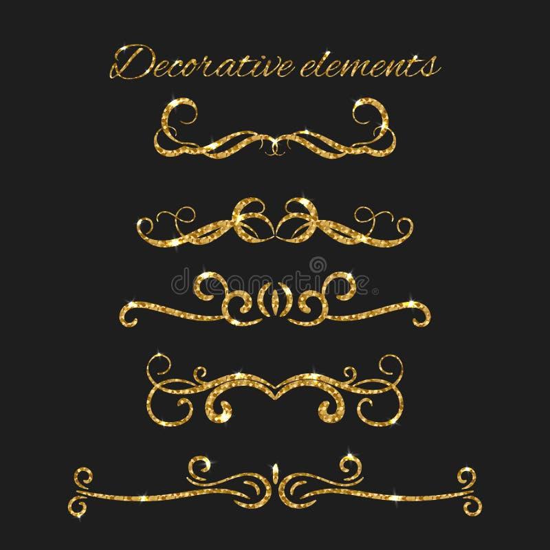 Złociści tekstów dividers ustawiający Ornamentacyjni Dekoracyjni elementy ilustracji