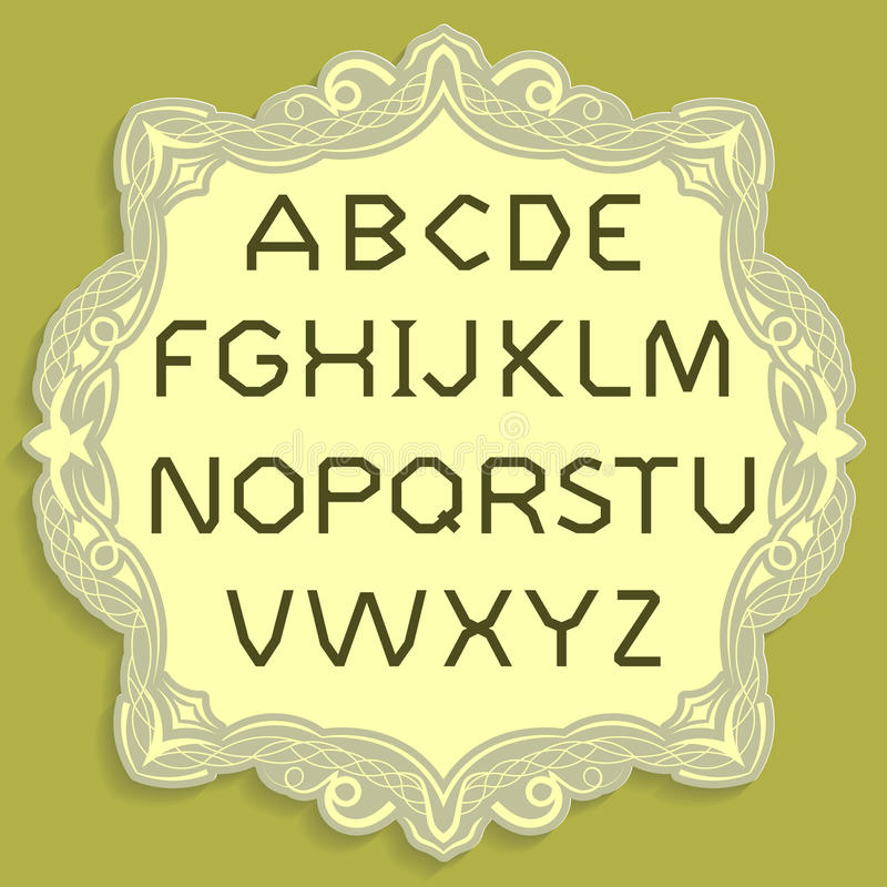 Złociści tytularni listy Wektorowy prosty abecadło Złocista chrzcielnica umieszczająca na żółtej rocznik karcie royalty ilustracja