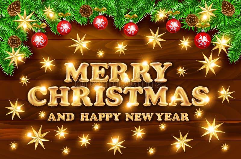 Złociści Wesoło boże narodzenia i Szczęśliwy nowego roku czerń błyszczą tło ilustracji
