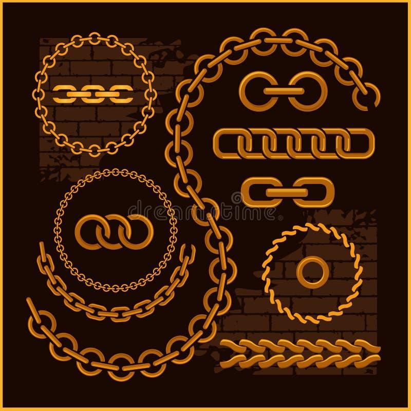 Złoci łańcuchy na ciemnym tle royalty ilustracja