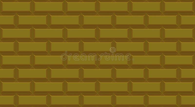 Złoci ściana z cegieł prostokąty z żłobiącą krawędzią t?o pusty Rocznik stonewall Izbowy projekta wn?trze royalty ilustracja