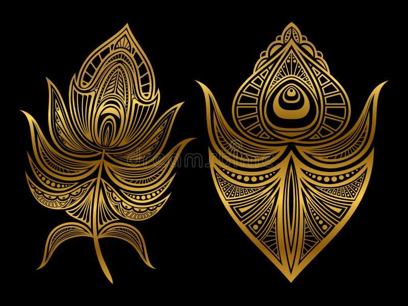 Złoci abstraktów piórka odizolowywający na czarnym tle royalty ilustracja