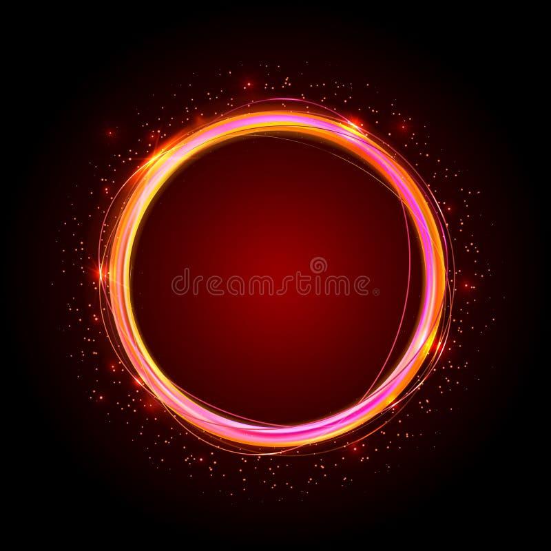 Złoci błyszczący pierścionki Abstrakcjonistyczny koloru wektoru sztandar Lekcy skutki, świecenie i odbicia, ilustracji