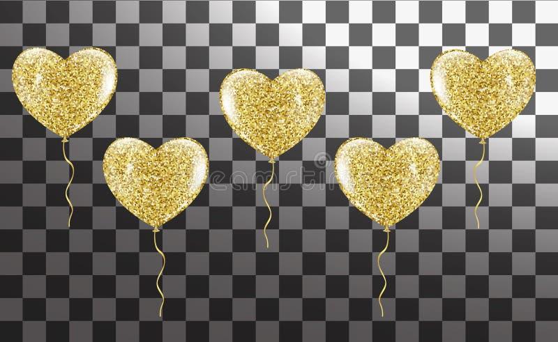 Złoci balony w formie serca na tle royalty ilustracja