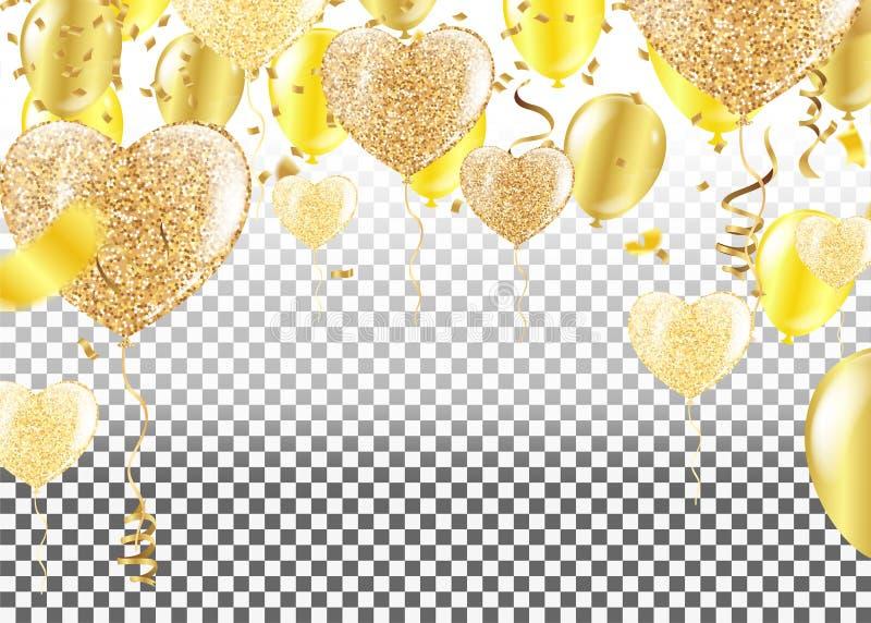 Złoci balony w formie serca na tle shap ilustracja wektor