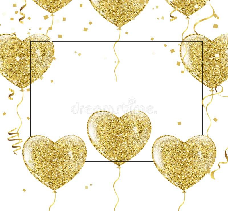 Złoci balony w formie serca na tle shap royalty ilustracja