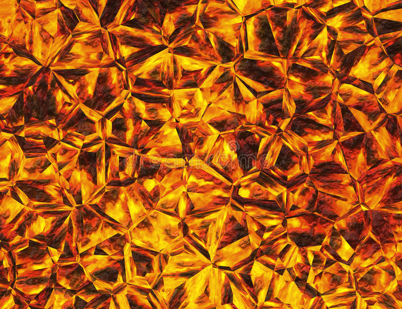 Złoci barwioni reliefowi kryształu ogienia tła ilustracja wektor