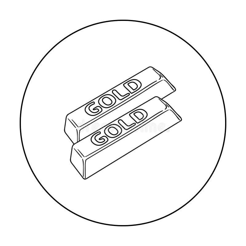 Złoci bary ikony w konturu stylu odizolowywającym na białym tle Pieniądze i finanse symbolu zapasu wektoru ilustracja ilustracji