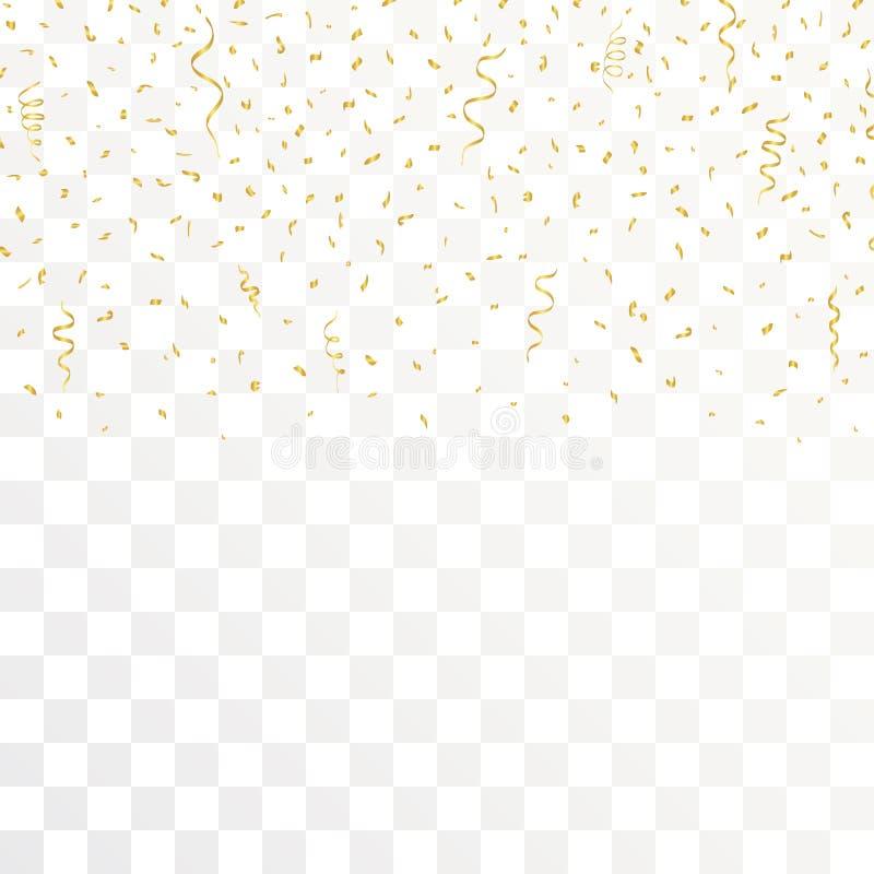 Złoci confetti I złociści faborki na przejrzystym tle wektor ilustracji