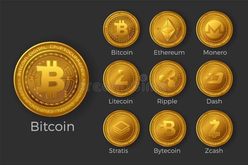 Złoci cryptocurrency monety ikony sety ilustracja wektor