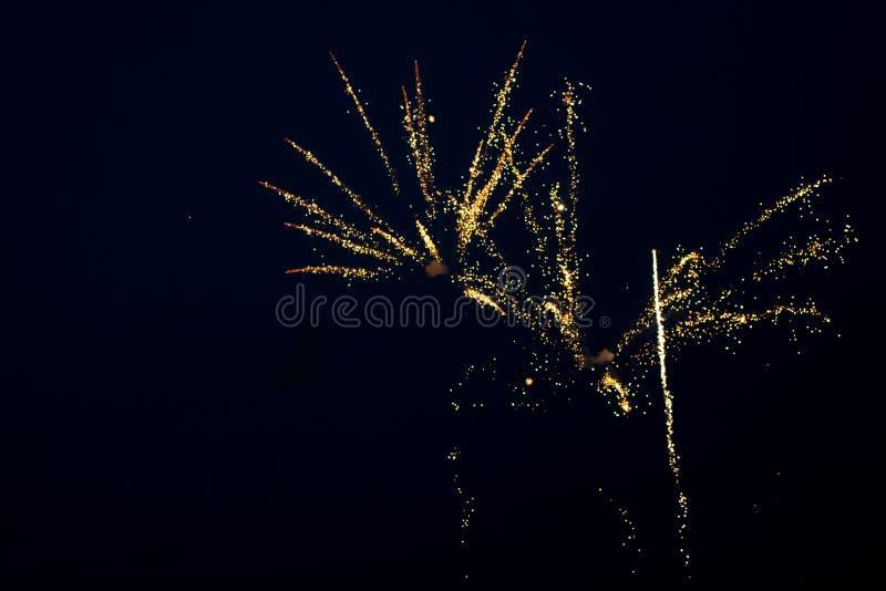 Złoci fajerwerki w niebie obrazy stock