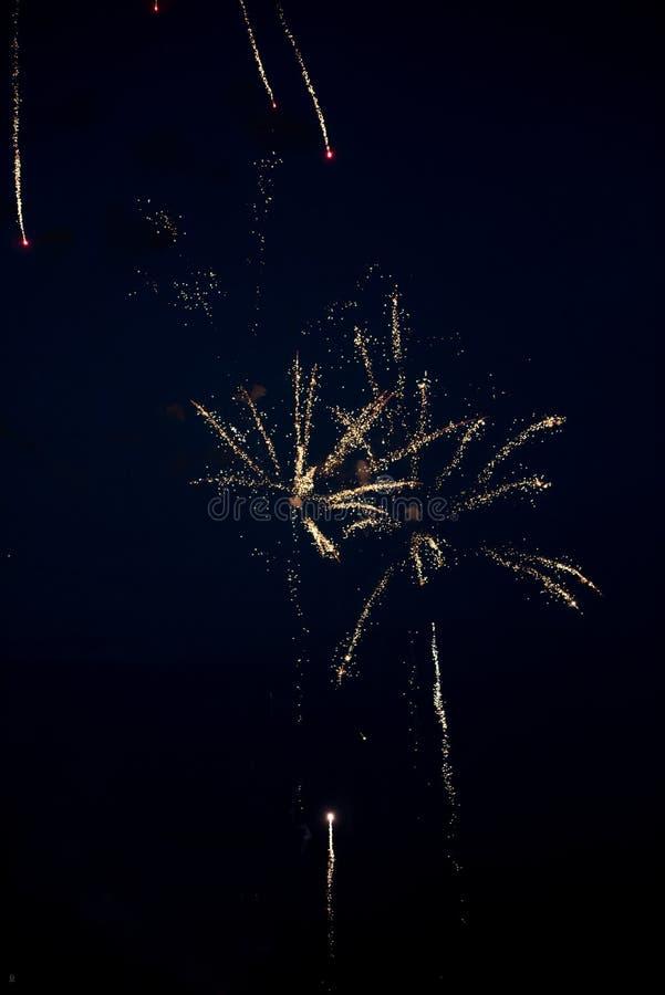 Złoci fajerwerki w niebie obrazy royalty free