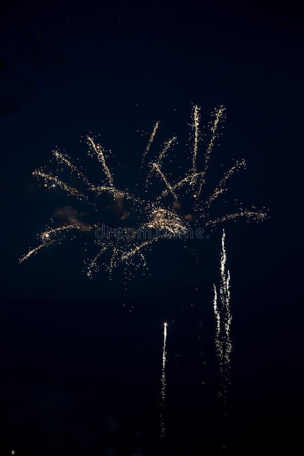Złoci fajerwerki w niebie zdjęcia stock