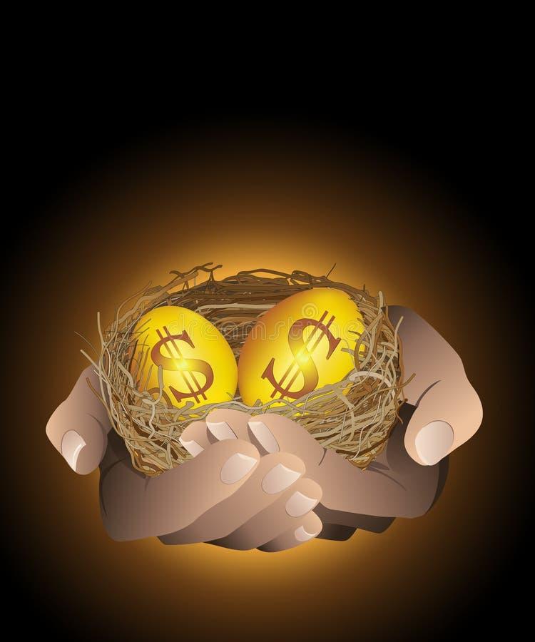 Złoci gniazdowi jajka w ręce ilustracji