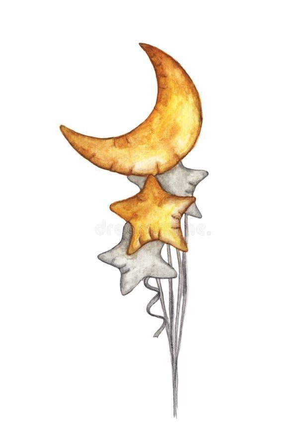 Złoci i Srebni balony Paczka Półksiężyc księżyc i gwiazdy kształta balony odizolowywający na białym tle ilustracja wektor