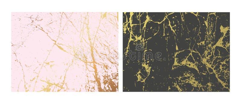 Złoci marmurowi imitacj tła ustawiający Abstrakt pokrywa z starą skałą, kamienna tekstura royalty ilustracja