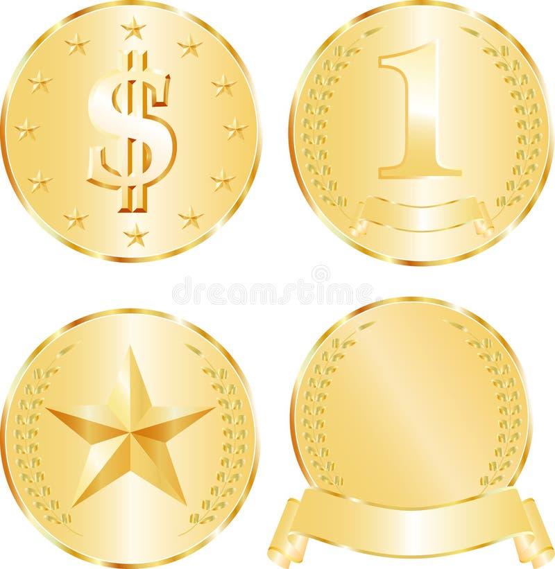 złoci medaliony ilustracji