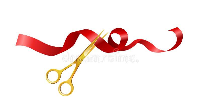 Złoci nożyce ciie czerwoną tasiemkową wektorową ikonę ilustracji
