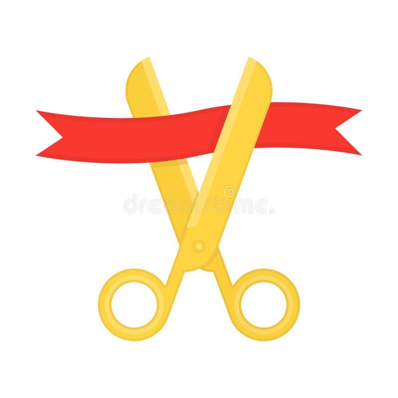 Złoci nożyce ciie czerwonego faborek ilustracji