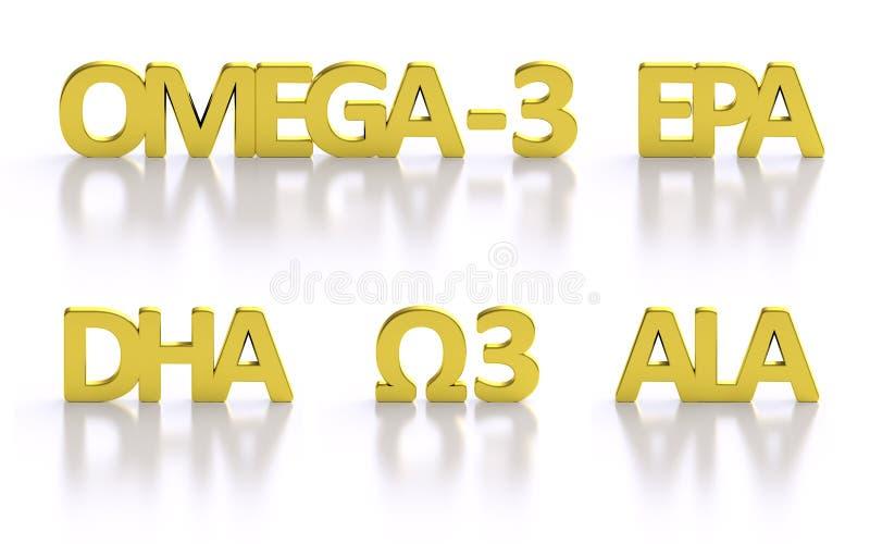 Złoci omega-3 3D tłustego kwasu tytuły royalty ilustracja
