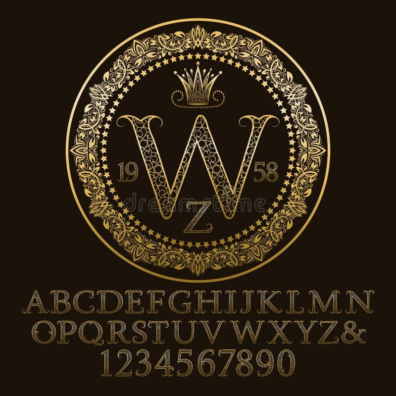 Złoci ozdobni listy i liczby z W parafują monogram royalty ilustracja