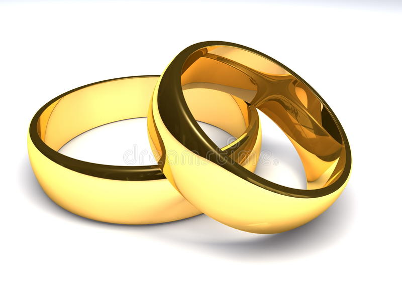 złoci pierścionki dwa royalty ilustracja