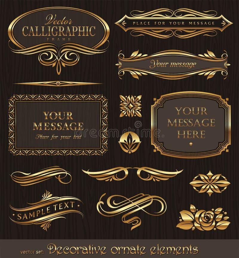 złoci projektów dekoracyjni elementy ilustracja wektor