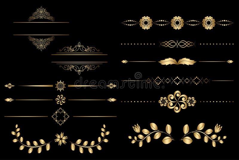 Złoci projektów elementy z gradientem royalty ilustracja