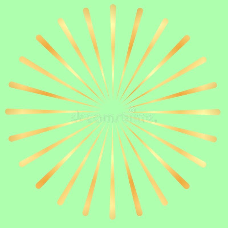 Złoci promienie, złoto promienieją element Sunburst, starburst kształt Promieniować, złoty promieniowy, wciela linie ilustracji