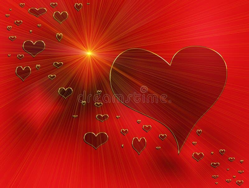 złoci serc miłości promienie czerwoni ilustracji