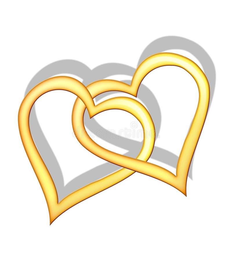złoci serca royalty ilustracja