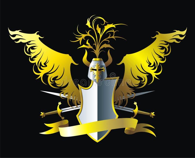 Złoci skrzydła royalty ilustracja