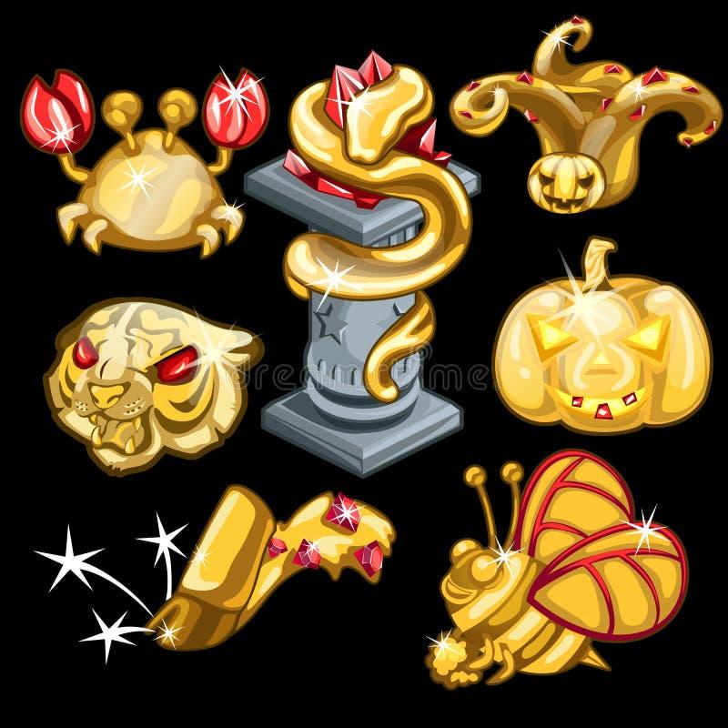 Złoci symbole zwierzęcy świat i wakacje ilustracji