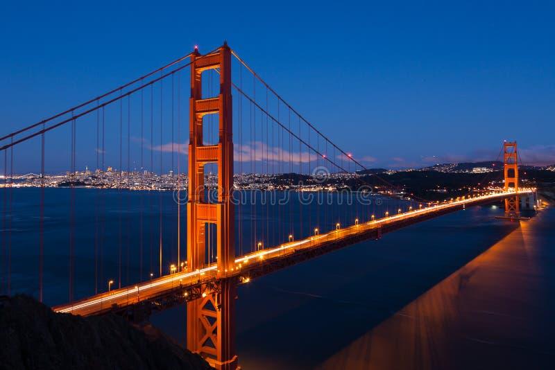 Złoci Wrota most noc w San Fransisco obrazy royalty free
