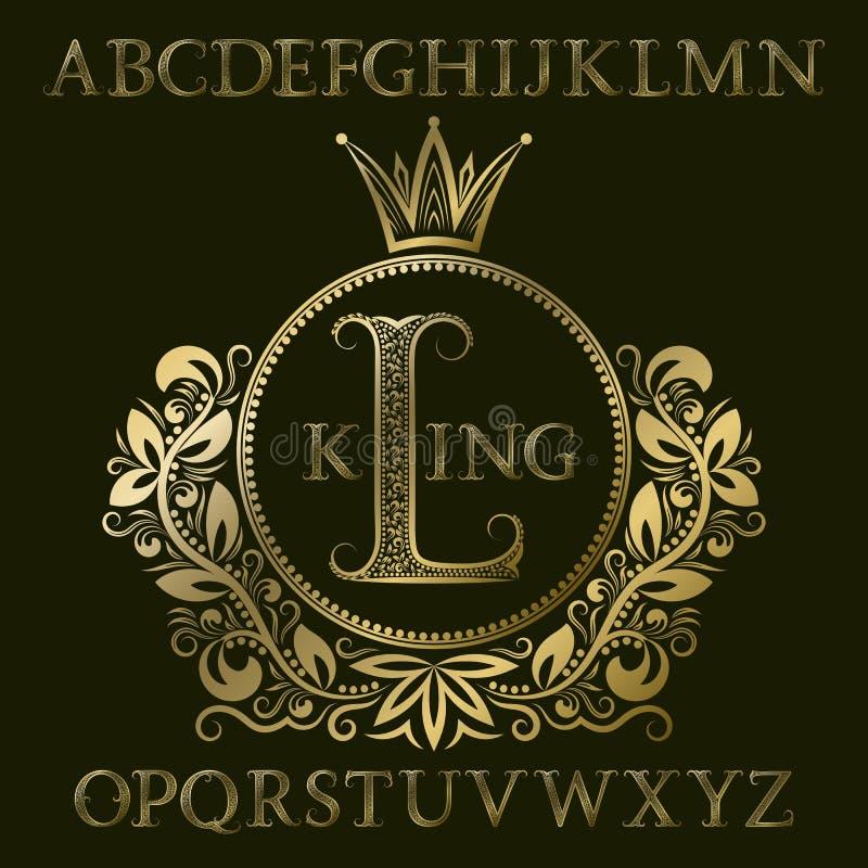 Złoci wzorzystość listy i początkowy monogram w żakiecie ręki tworzą z koroną Królewski chrzcielnicy i elementów zestaw dla loga  ilustracji