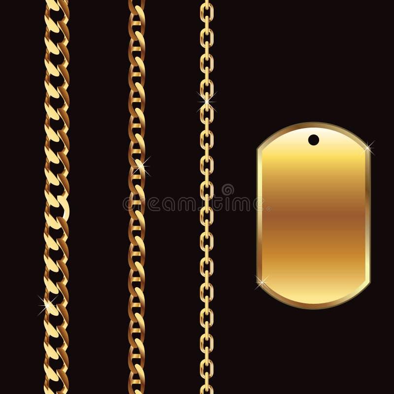 złocista łańcuch etykietka ilustracji