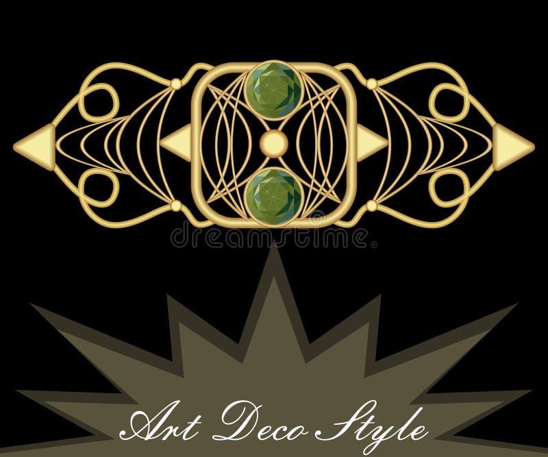 Złocista art deco broszka z zielonym klejnotu szmaragdem, antykwarski akcesorium w wiktoriański stylu, starożytniczy klejnot ilustracji