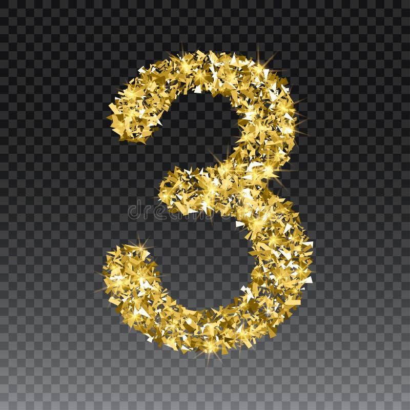 Złocista błyskotliwa liczba trzy Wektorowy olśniewający złoty chrzcielnicy postaci literowanie błyska na w kratkę tle ilustracji
