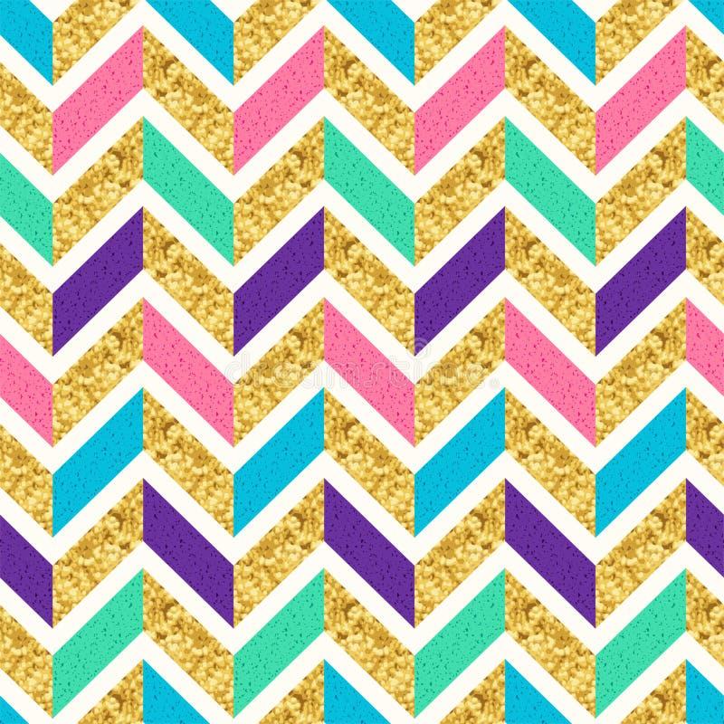 Złocista błyskotliwość, menchie, zieleń i Purpurowy Geometryczny Herringbone Bezszwowy wzór, elegancki tło ilustracja wektor