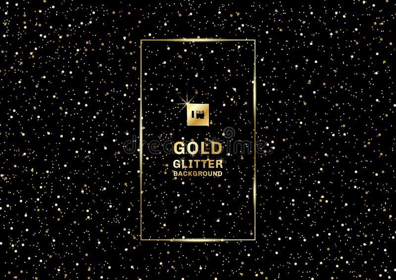 Złocista błyskotliwość na czarnej teksturze i tle Złoty wybuch confetti słoiści elementy projektu podobie?stwo ilustracyjny wekto royalty ilustracja